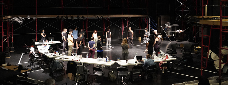 The company of THE TRAGEDY OF OTHELLO, THE MOOR OF VENICE in rehearsal.